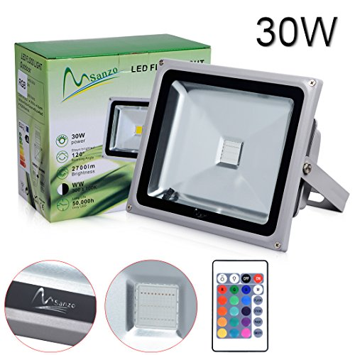 Porpora ® 30W LED RGB Flood Light (1 pack) Ideal for outdoor lighting such as Parking lot lighting, Construction building, Advertisement billboard, Landscape (Fan Aluminum Mount Cover Patio Ceiling)