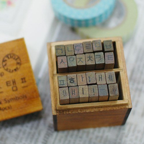 Korean Alphabet (Hangul) Rubber Stamp Letters 한글 스탬프 Characters Wooden Box Kpop Vintage Antique Finish - DIY bt21 from Hanji Avenue
