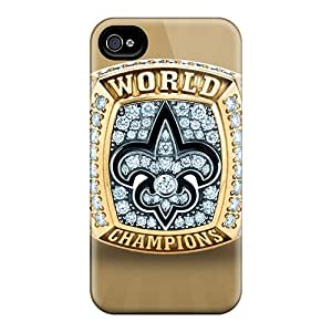 Anti-Scratch Cell-phone Hard Covers For Iphone 4/4s With Unique Design Vivid New Orleans Saints Series JasonPelletier