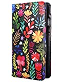 Mymazn Server Book for Waitress, 5x9 Server Book with Zipper, Magnetic Pocket, Pen Holder, Black Server Book with Flower Pattern