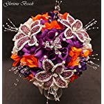 PURPLE-AND-ORANGE-BEADED-Flower-Lily-WeddingQuincenarea-Bouquet-16-PC-Set-with-FREE-Boutonnieres