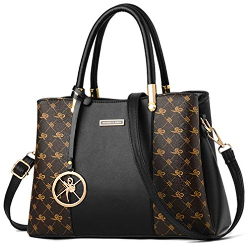 Women Purses and Handbags Top Handle Satchel Shoulder Bags Messenger Tote Bag For Ladies, Black, One Size (Sale Gucci Purses On)
