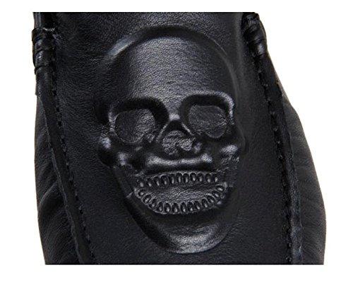 Happyshop (tm) Mens Slip In Pelle Cranio Su Mocassini Uomo Piatto Guida Scarpe Da Auto Sneakers Folderable Nere (grande Teschio)
