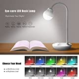 Kids Reading Bedside Lamp, Giwox Multicolor LED Desk Lamp Nightstand Mood Lights - Dimmable LED Table Light with Touch Control, USB Port, 10 Lighting Modes, 20 Brightness Levels ( White )