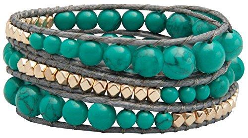 3 Stone Cuff Bracelet - Genuine Stones 3 Wrap Bracelet - Bangle Cuff Rope With Beads - Unisex - Free Size Adjustable (Turquoise)