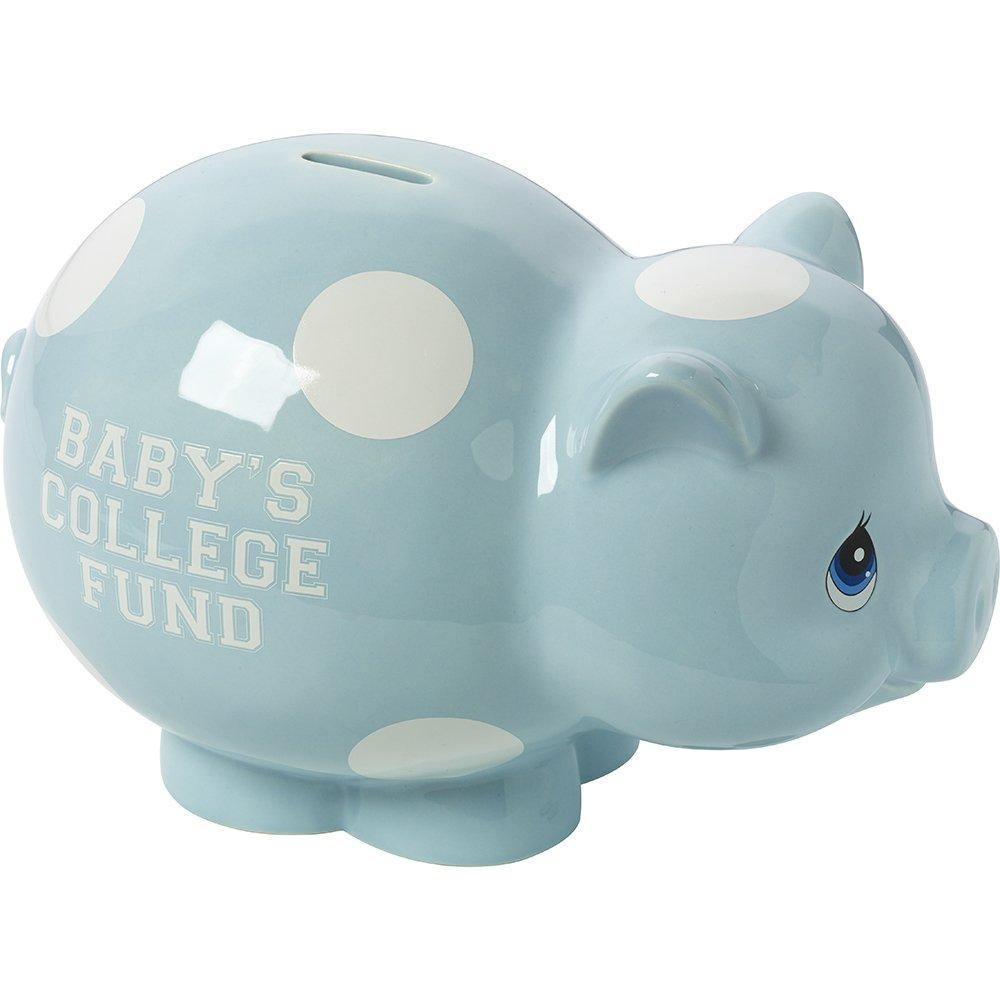 Precious Moments,  Baby's College Fund, Blue Ceramic Piggy Bank, Boy, 164008