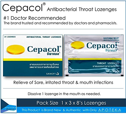 Cepacol #1 Doctor Recommended OTC Sore Throat Lozenge in the U.S. ( 24 Lozenges) Contain Cetylpyridinium Cl 1.33 Mg and Benzyl Alcohol 6 Mg Effective for Sore, Irritated Throat & Mouth Infections