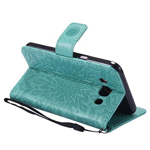 Trumpshop Smartphone Carcasa Funda Protección para Samsung Galaxy J5 (2016) [Gris] 3D Mandala PU Cuero Caja Protector Billetera Choque Absorción Verde