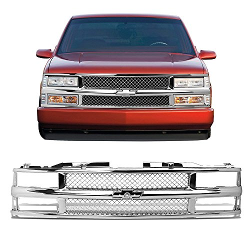 USAuto Front Bumper Chrome ABS Glossy Frame+Honeycomb Meshed Grille Guard for 94-00 CHEVY C10 C/K/TAHOE/BLAZER ()