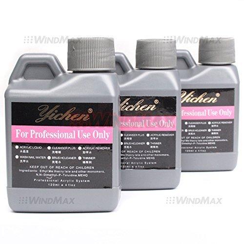 System Nail Art (Ships From CA, USA , 3PCS Acrylic Liquid Monomer Nail Art System For Acrylic Powder Dust Nails Tips Art 120ml 4 fl oz by WindMax)