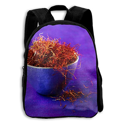 (Purple Bowl Saffron Printed Oxford School Bag Student Double Zipper Closure Casual Shoulder Bags )