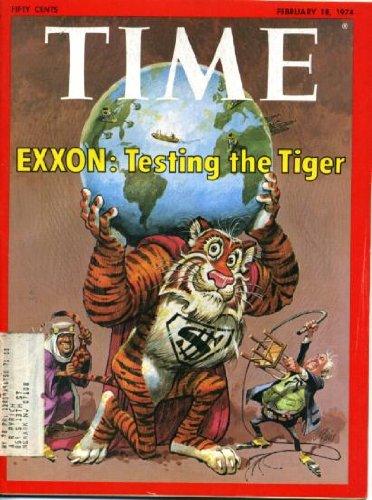 Time February 18 1974 Exxon Tiger on Cover (drawn by Jack Davis), Richard Nixon Watergate & Impeachment Coverage, Patty Hearst Kidnapping, Chairman Mao, Anwar Sadat, Alexander Solzhenitsyn, Zardoz/Sean Connery, The Last Detail/Jack Nicholson