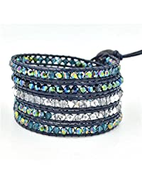 M&B Navy Blue and Crystal Multi Layer Beaded Women's Wrap Leather Bracelet
