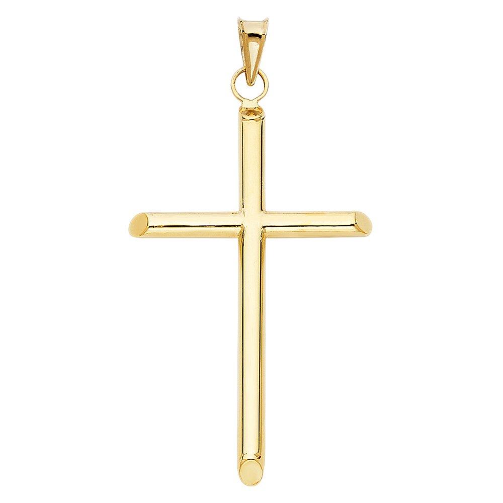 Million Charms 14k Yellow Gold Religious Cross Charm Pendant 29mm x 31mm