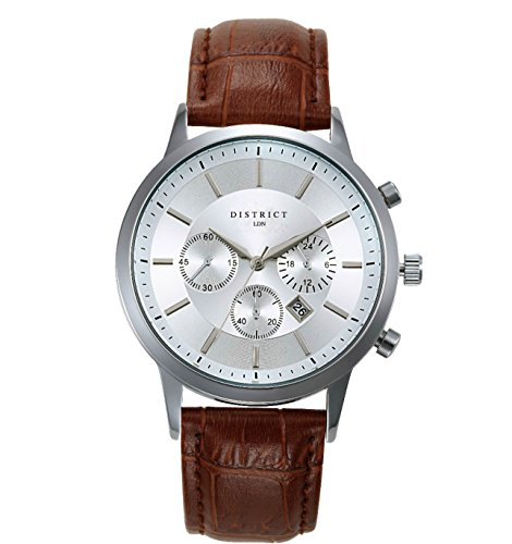 DISTRICT London Executive Edition Men's Quartz Luxury Sub Dial Watch Analogue Display and Leather Strap - Classic Elegant Design - Dress Watch - Waterproof Wristwatch with Stainless Steel Case