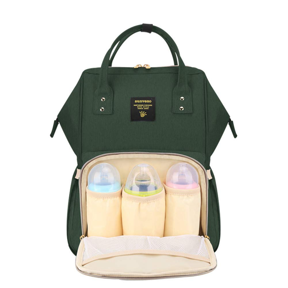 Sunveno Baby Diaper Bag Mummy Maternity Nappy Bag Large Capacity Travel Backpack Desiger Nursing Bag for Baby Care (Olive) by SUNVENO (Image #1)