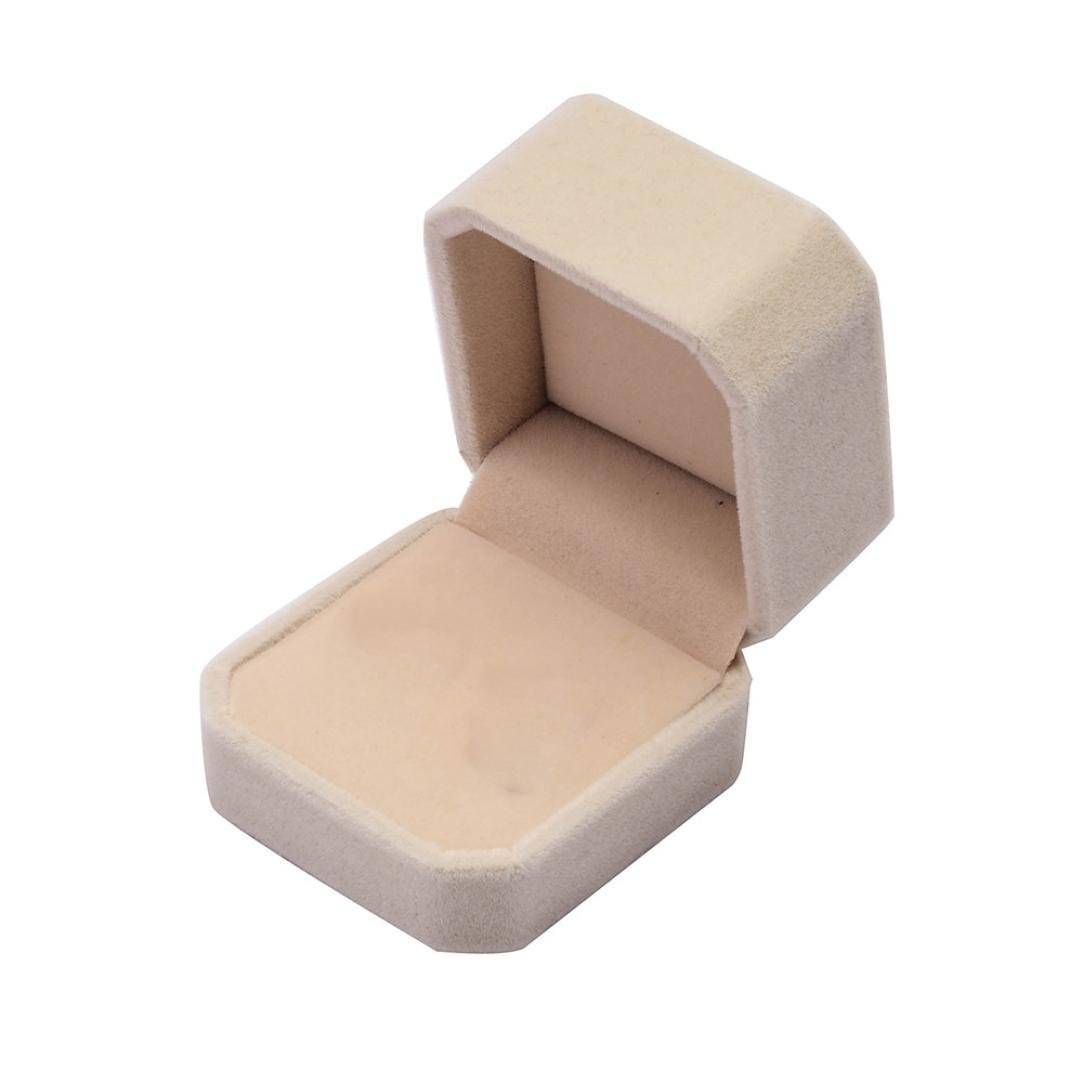 Kemilove Velvet Ring Box & Necklace Box Set - Jewelry Gift Storage Display Box for Wedding, Engagement Gift Favor (Beige)