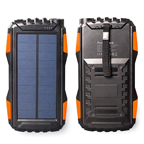 Solar Energy Cell - Friengood Solar Power Bank 25000mAh, Portable Solar Phone Charger External Solar Powered Battery Charger with Dual USB and LED Flashlights for iPhone, iPad, Android Cellphones and More (Orange)