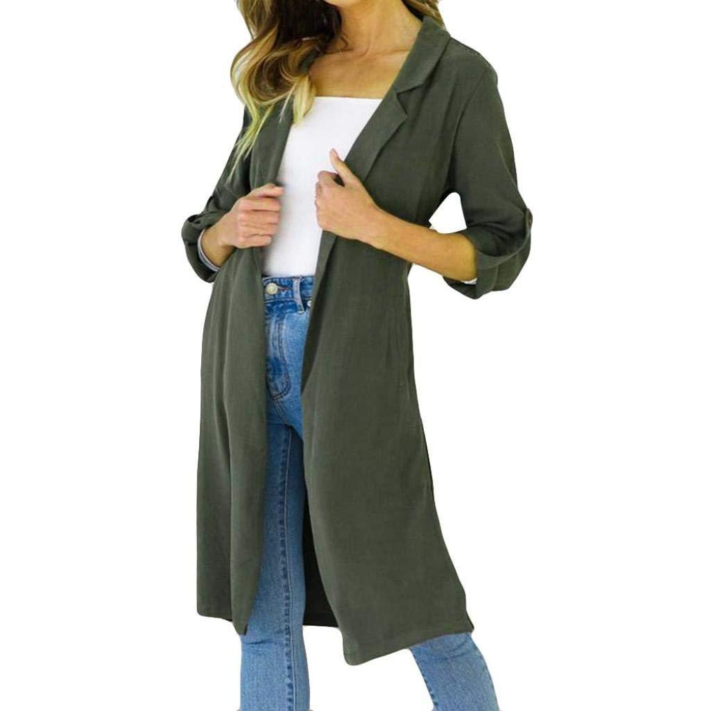 Spbamboo Women Cardigan Lady Long Sleeve Jumper Open Front Long Top Jacket Coat