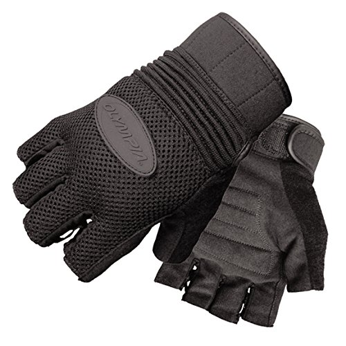 Olympia 757 Airforce Fingerless Gel Classic Motorcycle Gloves (Black, Large) (Gel Olympia)