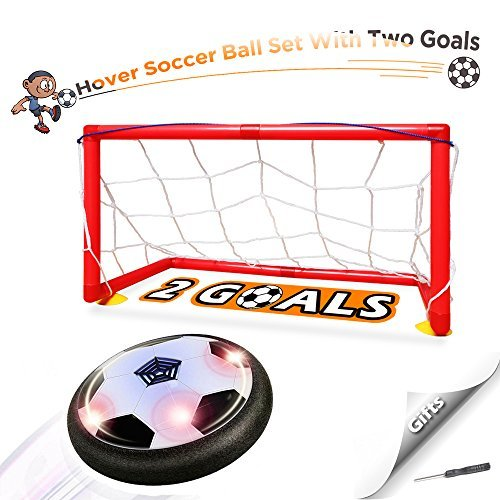 Soccer Ball Air - Kids Toys Hover Soccer Ball Set - Air Power Floating Football with LED Lights and Music, Sport Toys Training Football Indoor Outdoor Disk Game with 2 Gates and Mini Screwdriver by Wonkisen