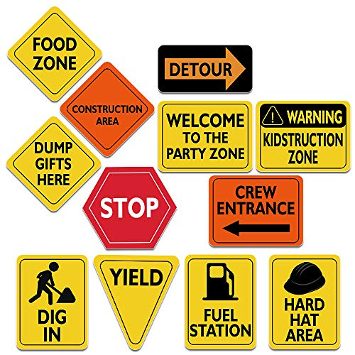 "WERNNSAI Construction Zone Party Decorations - 12 PCS Size 8"" Traffic Sign Cutouts for Boys Kids Birthday Party Construction Theme Party Supplies -"