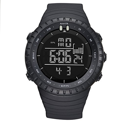 LIGE Men's Military Sport Watches With Electronic Led Display Chronograph Wristwatch All Black
