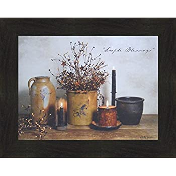 Home Cabin Décor Simple Blessings by Billy Jacobs 16x20 Crocks Candles Stoneware Country Primitive Folk Art Photography Framed Print Picture