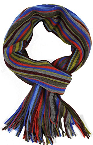 scarf knitwear Raschel stripes fashionable muticolored 100 % merino wool R-623 ()