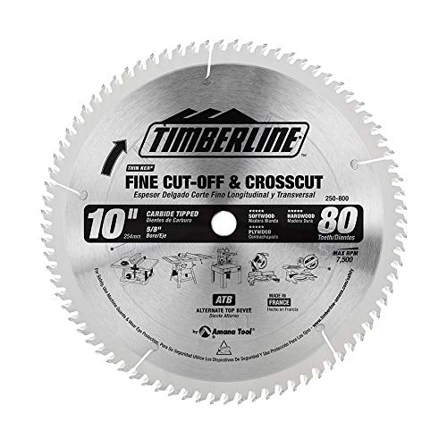 Timberline 250-800 General Purpose and Finishing 10-Inch Diameter by 80-Teeth by 5/8-Inch Bore, ATB Grind Thin Kerf Carbide Tipped Saw Blade by Timberline
