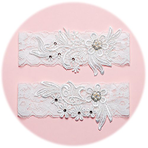 Lovely Set Pearl (Slocyclub Lovely Women Ivory Bridal Garter with Pearl Lace Garter Set (OneSize, Pure white-02))