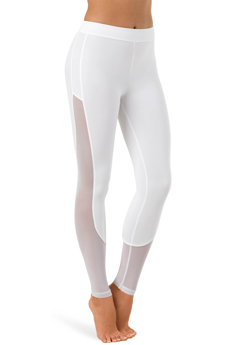 Balera Leggings Girls Pants for Dance with Mesh Ankle Length Bottoms White Adult Medium by Balera