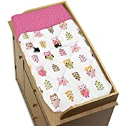Sweet Jojo Designs Pink Happy Owl Baby Changing Pad Cover