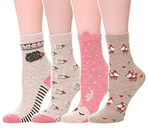 Hedgehog Outfits (WENER Women Girls Novelty Cartoon Animal Cute Casual Cotton Socks 4 Pack (Deer/Hedgehog))
