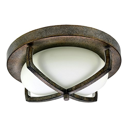 (HomeSelects 6162 Industrial Chic Flush Mount Ceiling Light, Burnished Bronze with Opal Glass Globe, 12