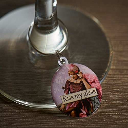 Funny Vintage Women Wine Glass Charms - Set of 6 Wine Tags. Always know which glass is yours with these wine markers! by Savvy Design Store (Image #3)