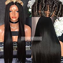 Jolitime Hair Brazilian Human Hair Lace Front Wigs Black Virgin Hair Glueless Full Lace Wigs Long Straight Hair (18inch full lace wig)