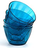 "Kreate Acrylic Bowls - Set of 4 - Reusable Break-Resistant Plastic - 6"" Diameter - For Cereal, Salad, Ice Cream - Deep Blue"