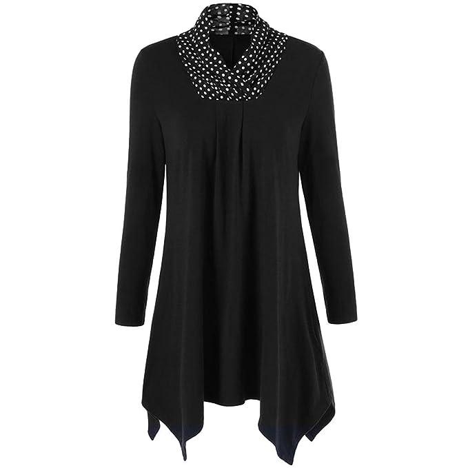 497e0a5fd wlgreatsp Mujeres Moda para Mujer del Lunar Irregular Dobladillo con  Volantes Blusa Larga Camiseta tee