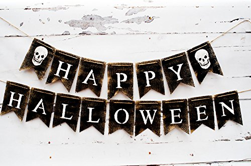 Happy Halloween Sign, Halloween Decorations, Skull Banner B167]()