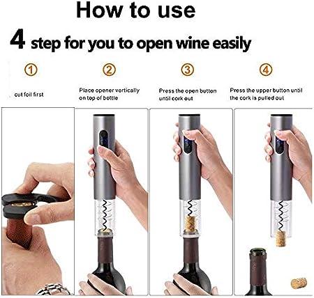 FEE-ZC Party Upgrade Abridor automático de Vino Abrebotellas eléctrico para Vino con Cortador de Aluminio Sacacorchos Abrebotellas con batería