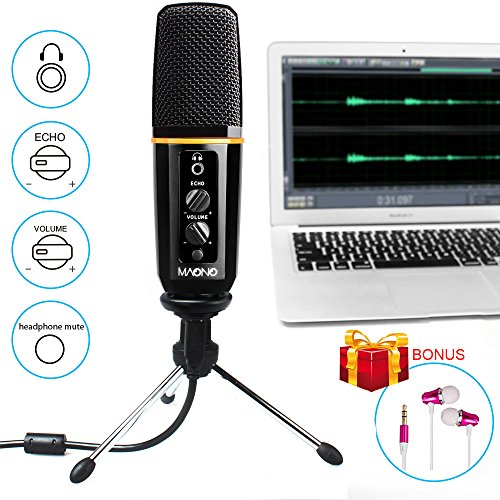 USB Microphone-MAONO Podcast Microphone With Headphone Monitoring Echo Volume Control Vocal Condenser Mic for Computer Games, YouTube, Skype, Live Broadcasting