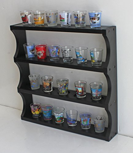 Shot Glass Display Rack Curio Wall Shelf (Black Finish) SC05-BL - Curio Display Shelf