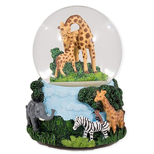 Giraffes Zebras and Elephants 100MM Music Water Globe Plays Tune Don't Fence Me In