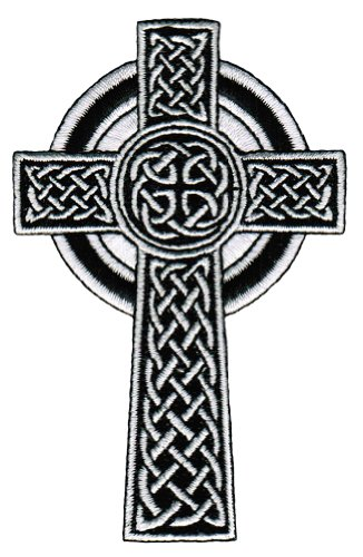 (Celtic Cross Iron-On Patch White Embroidered Relgious Gaelic Irish Crucifix)