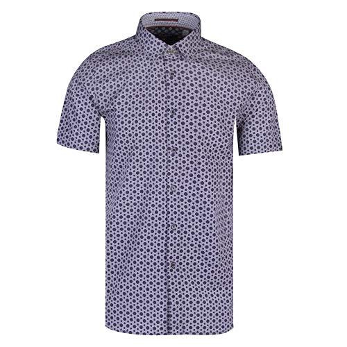 Ted Baker Men's Enyone Short Sleeve Hex Line Print Shirt Navy 3