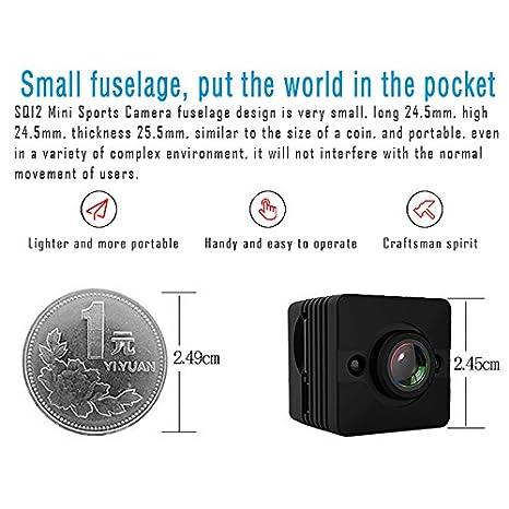 Tianu SQ12 - Mini cámara de visión nocturna HD 1080P con lente DVR deportiva y videocámara de gran angular y mini videocámara portátil: Amazon.es: ...
