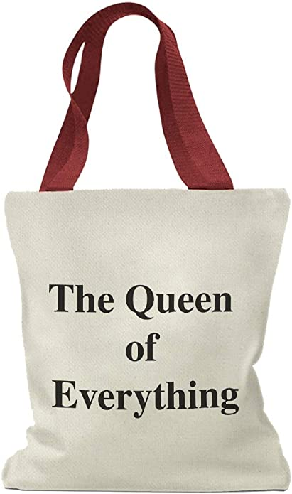 Queen of Chaos Funny Canvas Tote Bag Market Pouch Grocery Reusable Jenuine Crafts