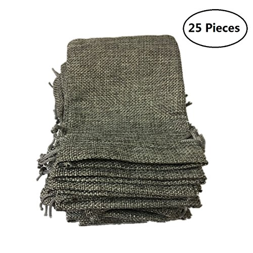 Tsuen 25 Pcs Burlap Bags with Drawstring Gift Bags for Wedding Party, Arts and Crafts Projects, Jewelry Pouches, Candy Bags, Birthday Parties Shower Christmas Favor, Lots of 25 (Gray) by Tsuen