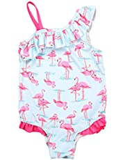 QQDAYLY Baby Girls Kids One Shoulder Birds Ruffle One Piece Swimwear Bathing Suit